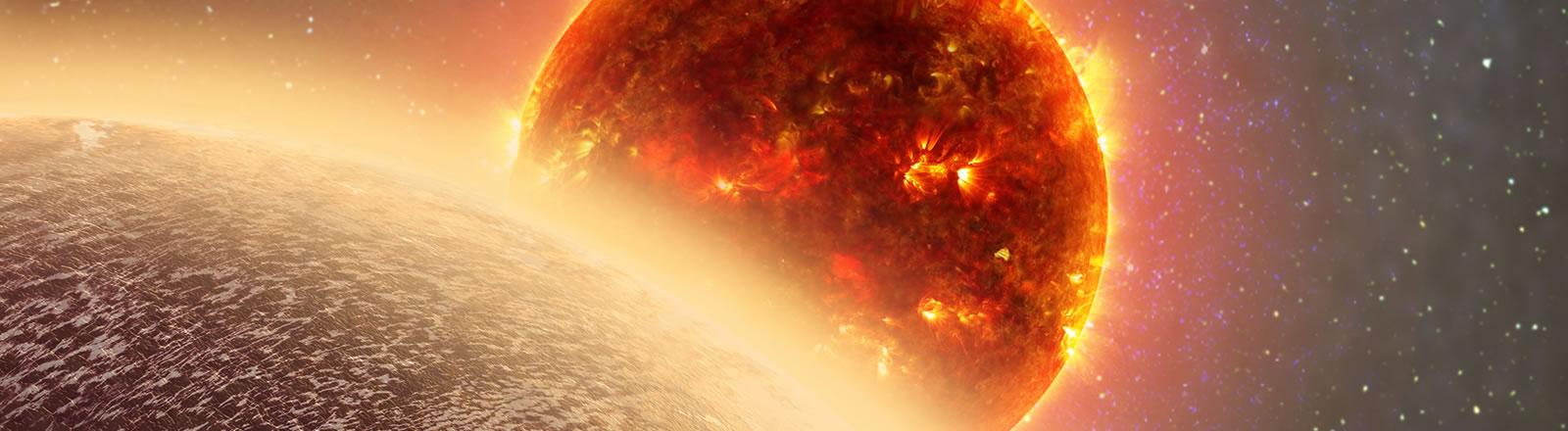 Eine Grafik eines Planeten vor einem Stern.