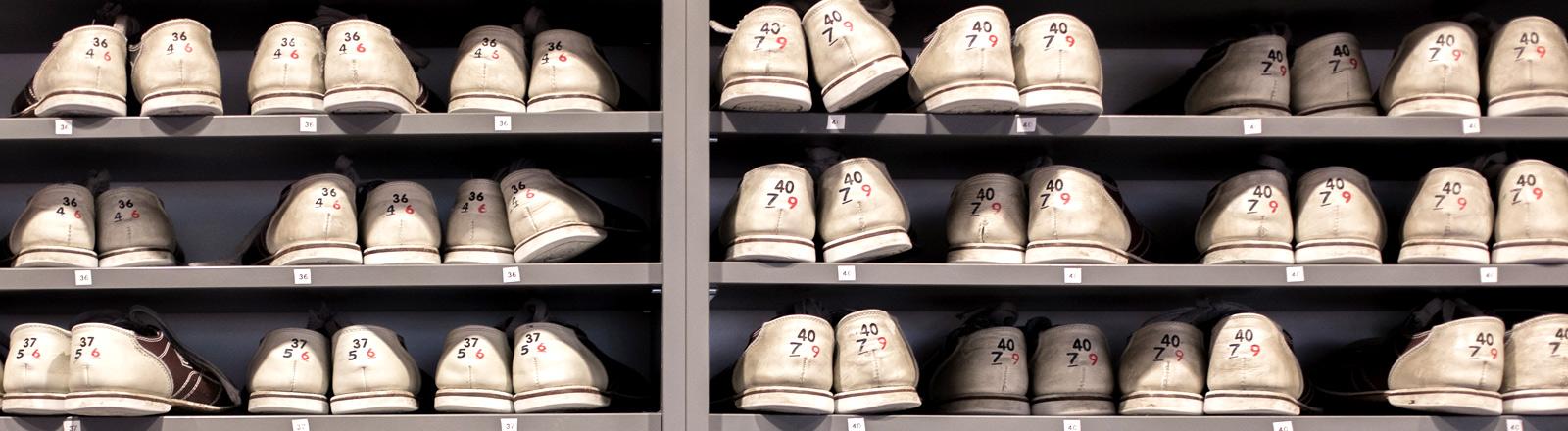 Aufgereihte Schuhe in einem Regal