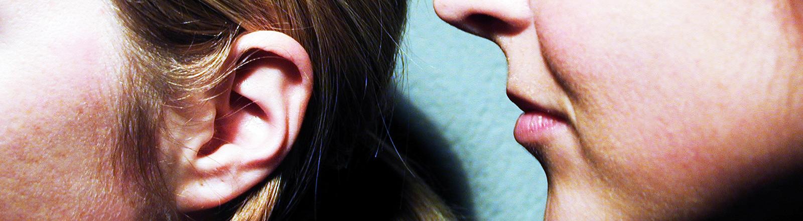 Eine Frau ist kurz davor einer anderen ins Ohr zu flüstern.