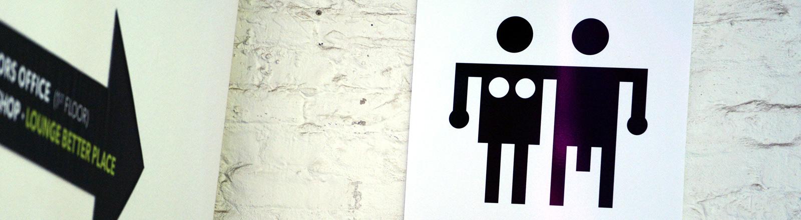 Ein kreatives Toilettensymbol auf der Berlinale.
