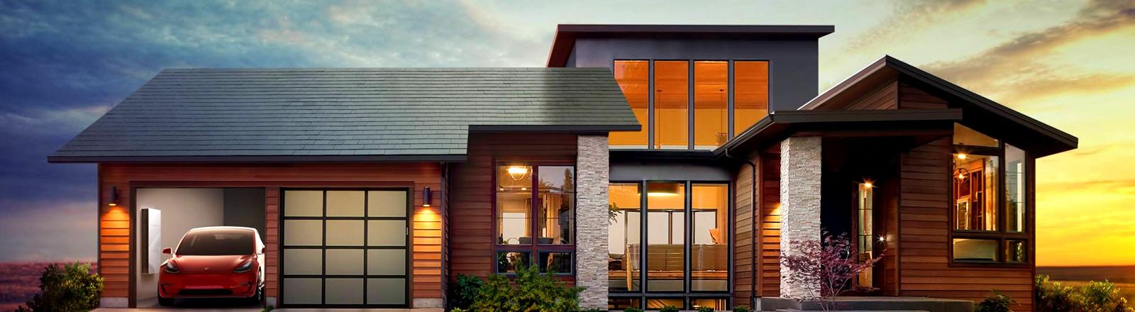 Grafik: Simulation eines Hauses mit Tesla Solarziegeln
