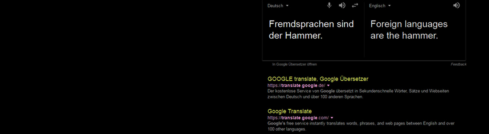 Screenshot von Google Translate