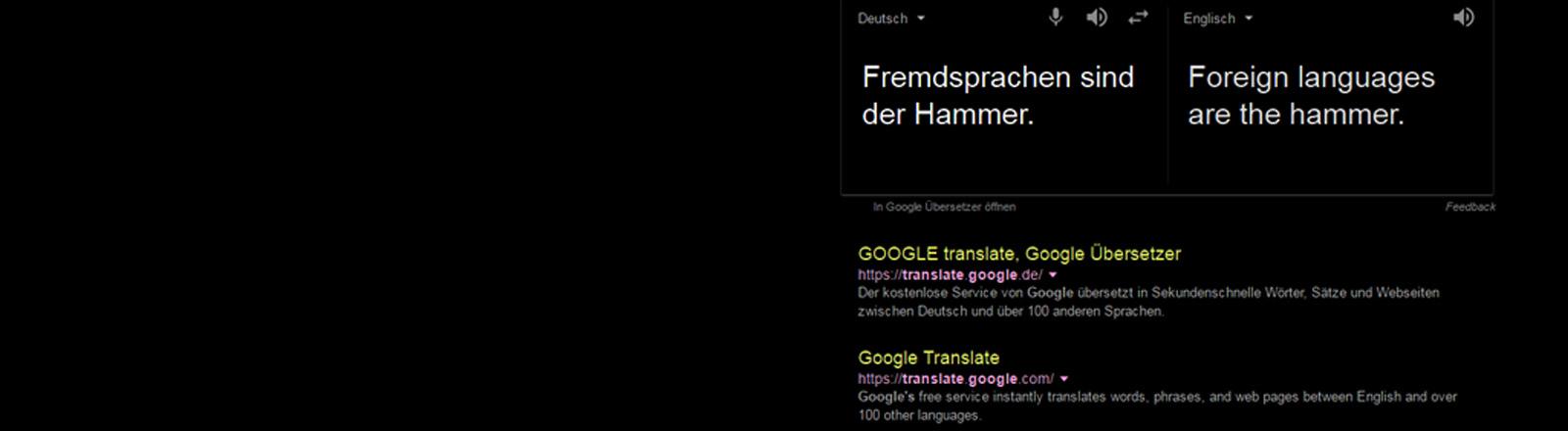 Screenshot von Google Translate