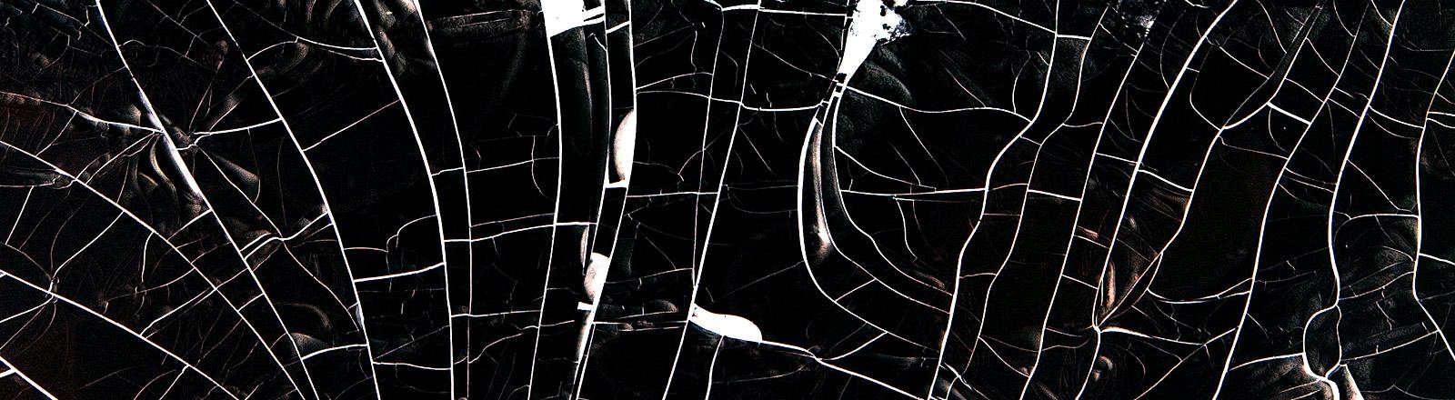 Ein weißes netzartiges Gebilde auf schwarzem Hintergrund