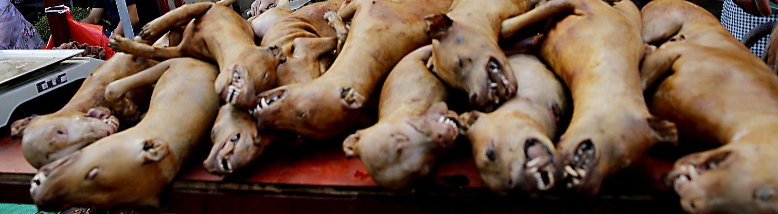 Tote Hunde zum Verzehr auf einem Tisch gestapelt
