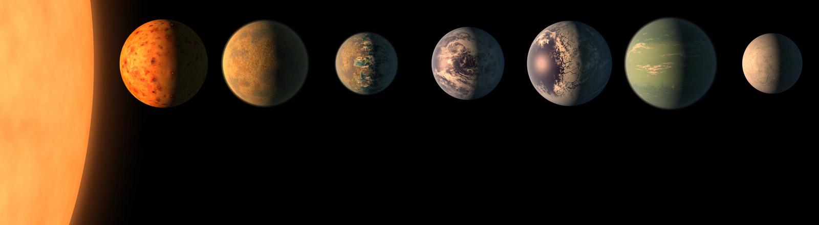 Grafische Darstellung der neu entdeckten sieben erdähnlichen Planeten