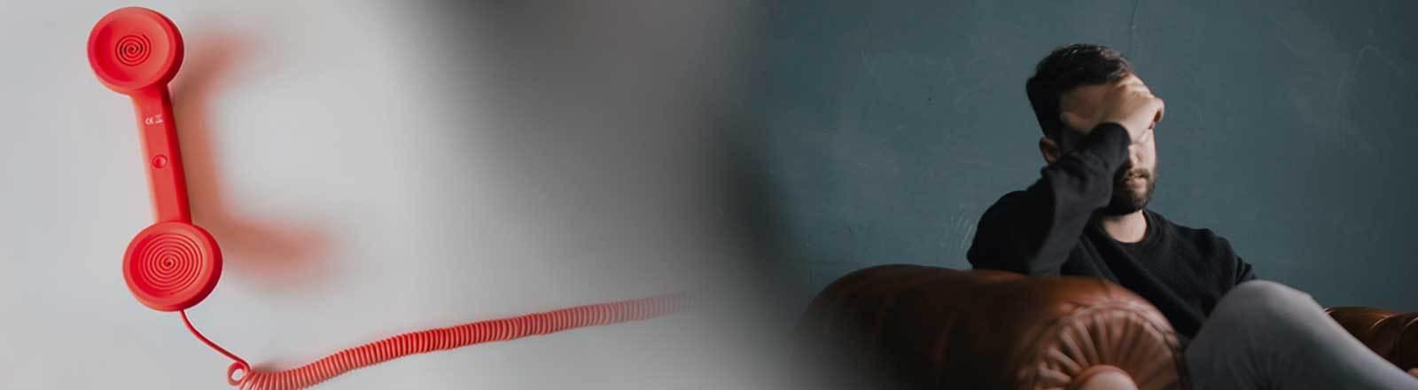 Collage: Telefonhörer und bedrückter Mann