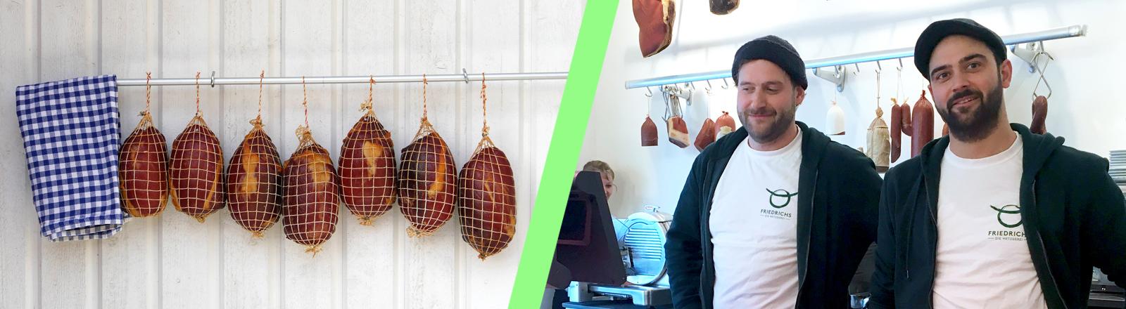 Fleisch am Haken und die Metzgerei-Betreiber David und Sebastian Friedrichs