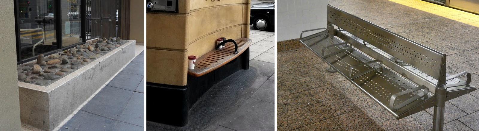Bänke in Städten, auf denen man sich nicht hinlegen kann.