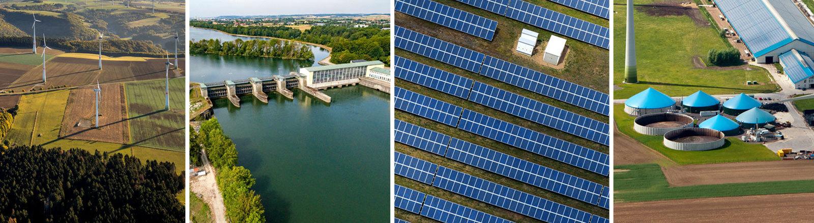 Windräder, Wasserkraftwerk, Solarpark, Biogasanlagen