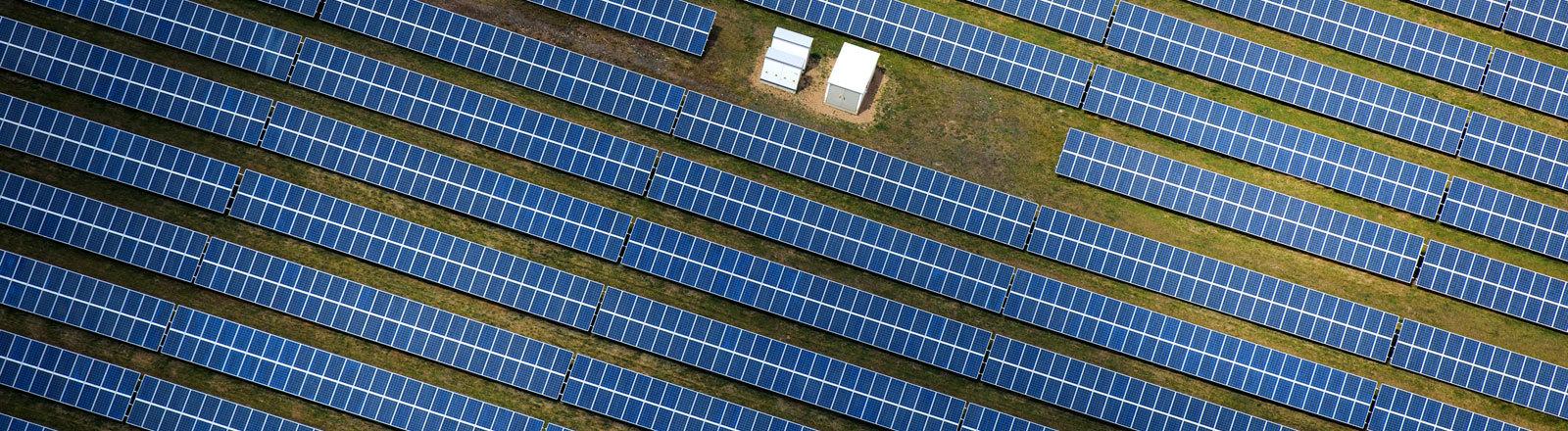 Ein Solarpark aus der Luft fotografiert
