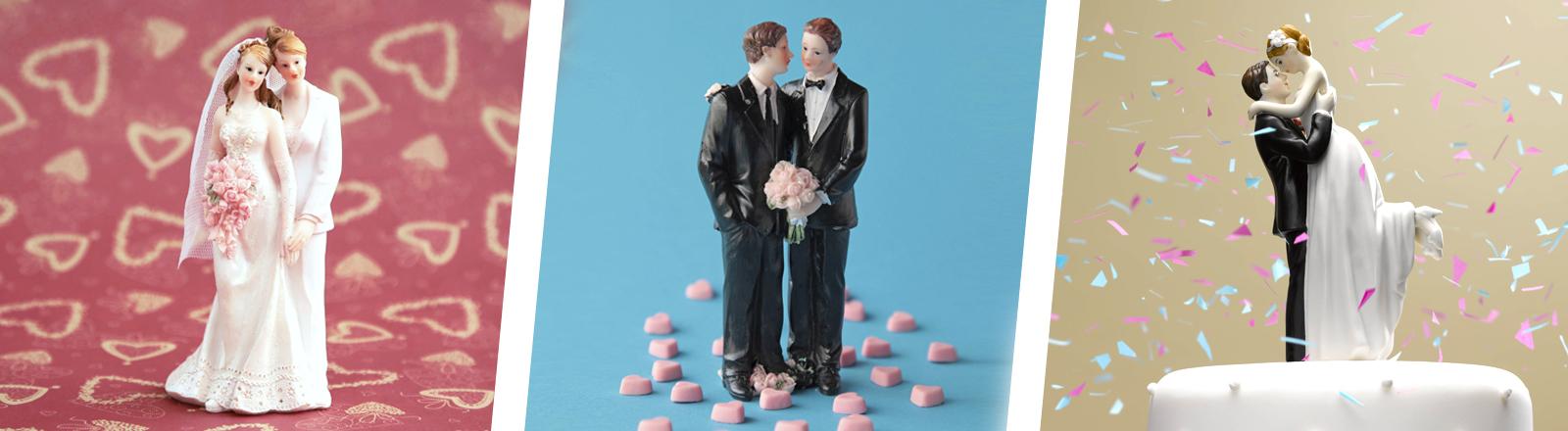Collage: Hochzeitsfiguren, homo- und hetereosexuelle Paare