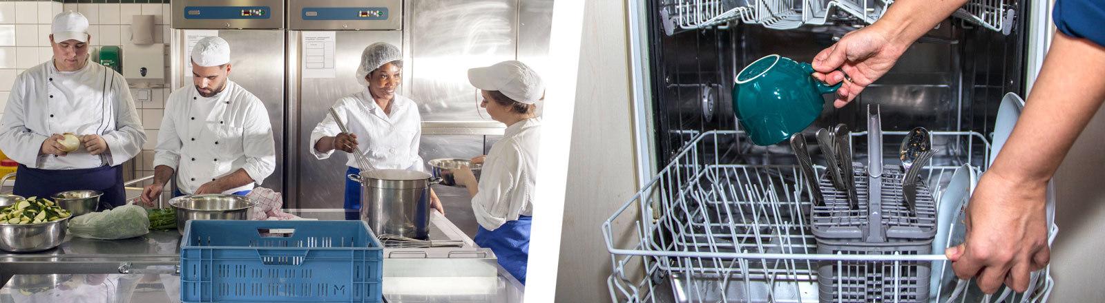Collage: Kantinenmitarbeiter in Küche, Spülmaschine