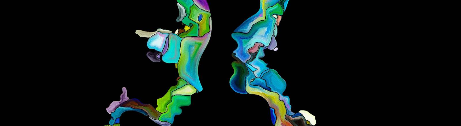Psychedelisches Bild – schemenhaft in bunten Farben sind zwei gemalte Köpfe zu erkennen.