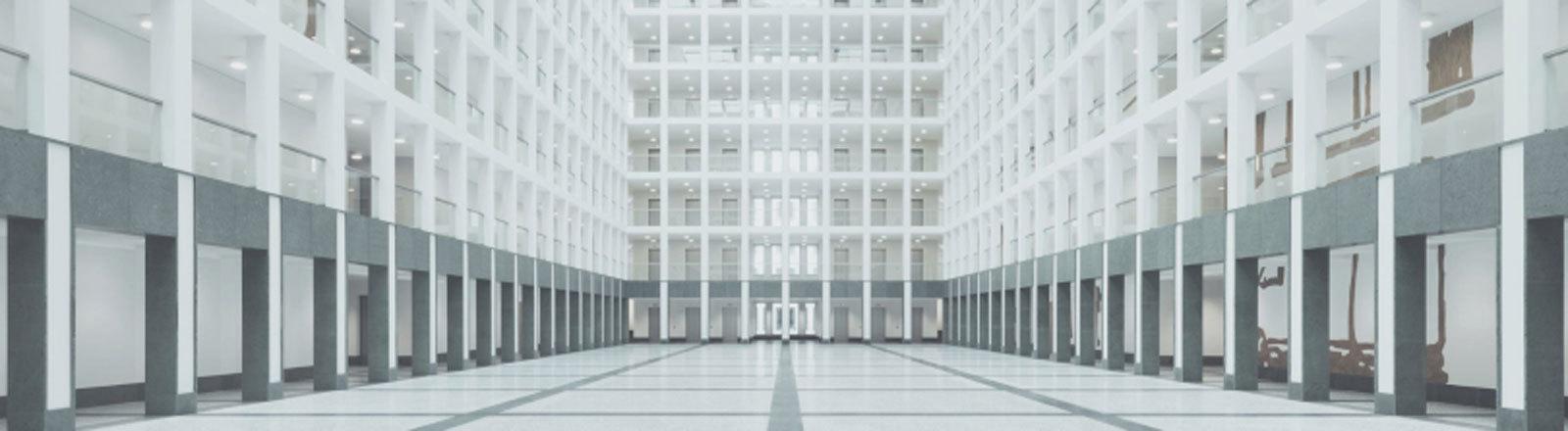 Atrium des neuen BND Gebäudes in Berlin.