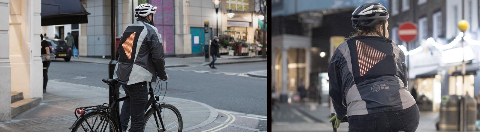 Ein Fahrradfahrer mit einer Jacke, die blinken kann