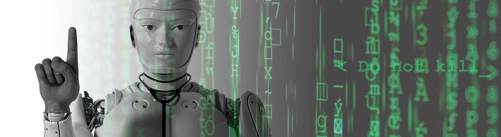 Roboter mit erhobenem Zeigefinger
