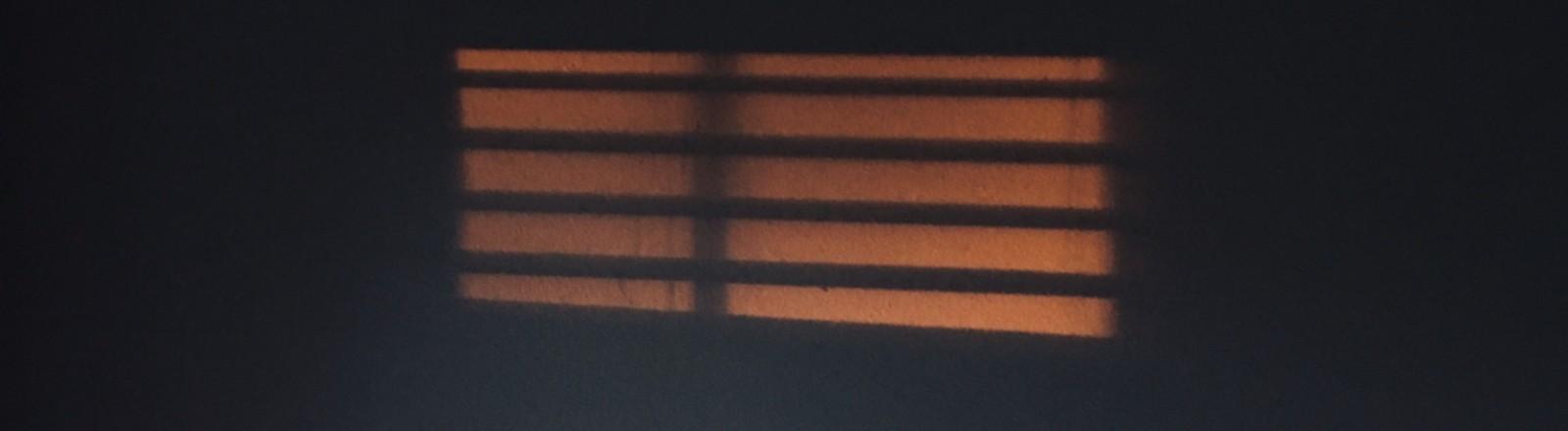 Ein dunkler Raum, durch ein Fenster mit Jalousien fällt opakes Licht.