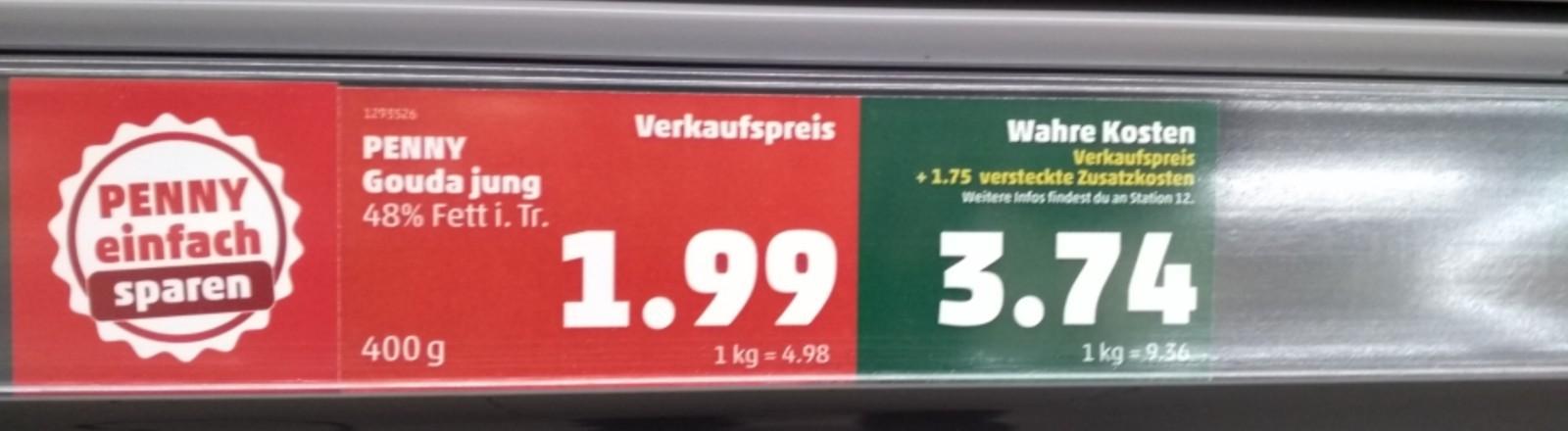 Preisschild in einem Penny Supermarkt.