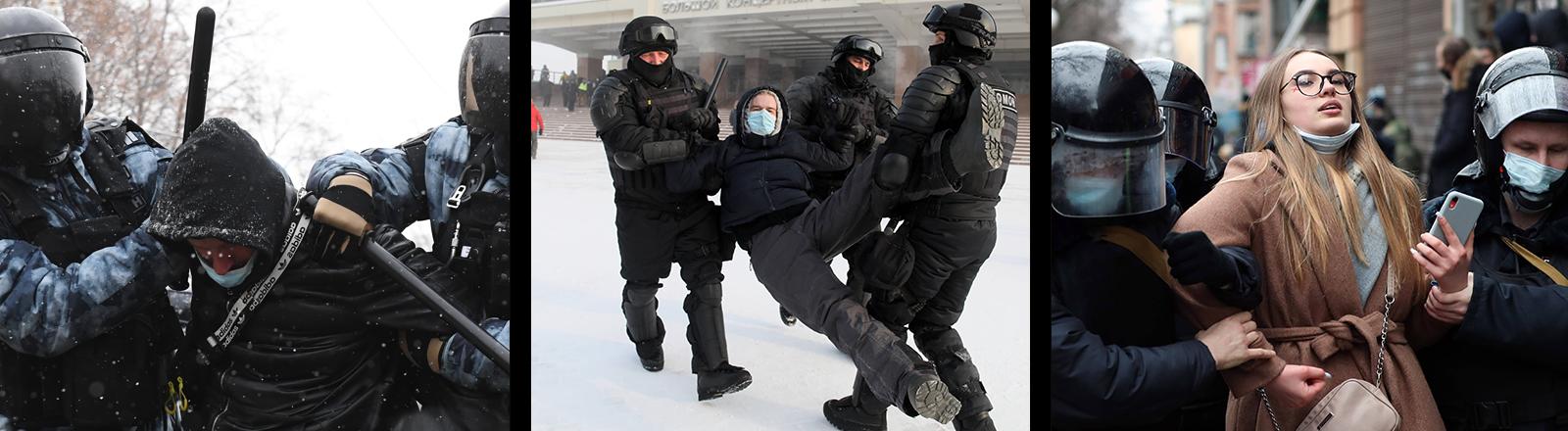 Russsische Polizisten nehmen bei den Protesten gegen die Inhaftierung Alexeij Nawalnys am 31.01.2021 Demonstranten und Demonstrantinnen fest - links: Moskau, Mitte: Krasnoyarsk | Rostov-on-Don