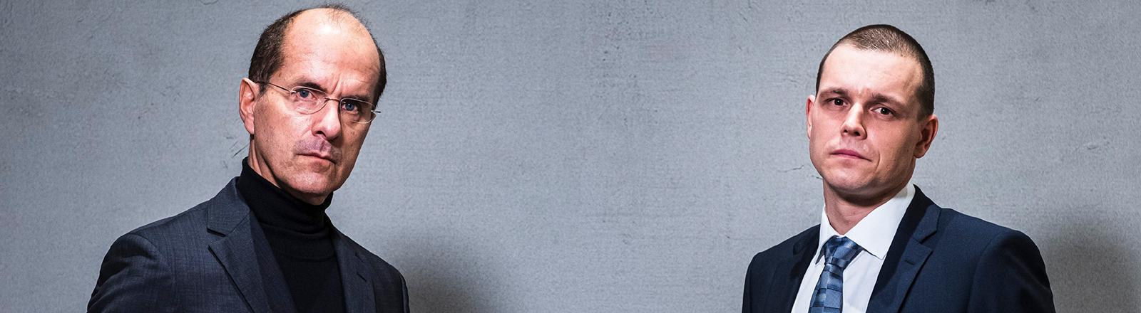"""Die Protagonisten des Wirecard-Dokudramas """"Der große Fake"""": Christoph Maria Herbst als Wirecard-Chef Markus Braun und Franz Hartwig als Jan Marsalek."""
