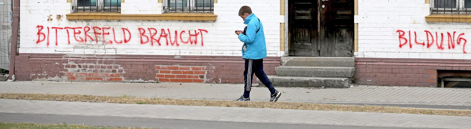 "Straßenszene in Bitterfeld. Grafitti auf Hauswand ""Bitterfeld braucht Bildung"". Bild: dpa"
