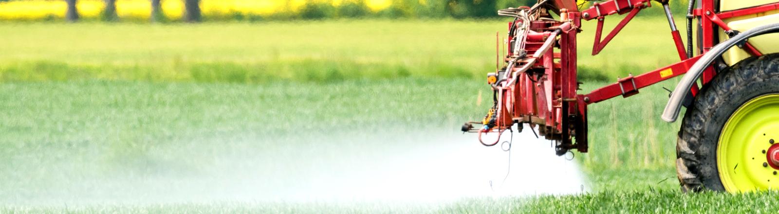 Traktor versprüht Pflanzenschutzmittel. dpa