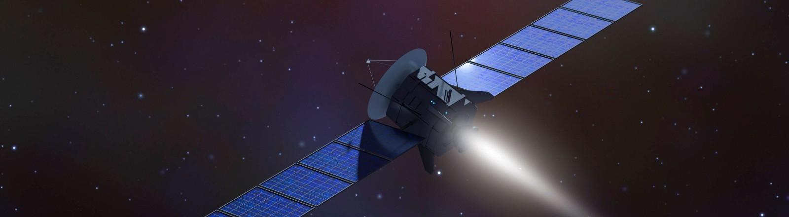 Ein Satellit schwebt im Weltall.