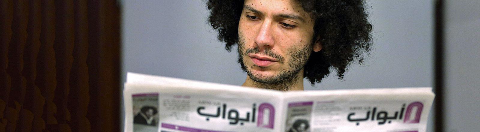 Der syrische Flüchtling Ramy Al-Asheq, Chefredakteur der Flüchtlingszeitung «Abwab»
