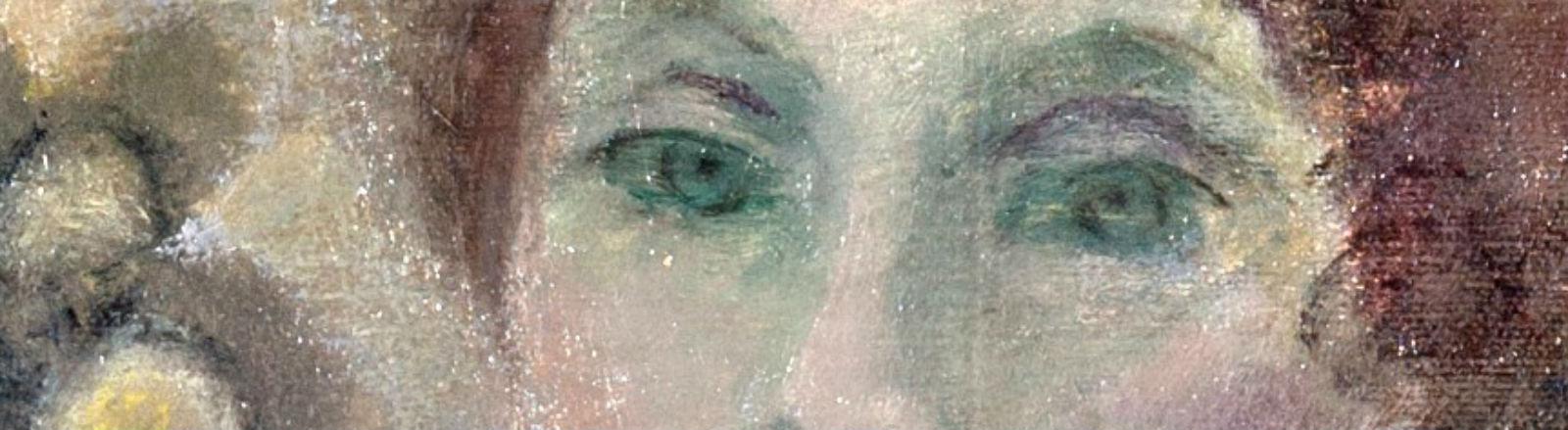 Ein Ausschnitt aus einem Gemälde zeigt die Augen einer jungen Frau.