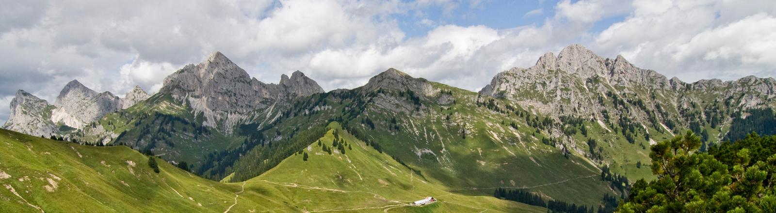 Bergekette mit grünen Wiesen und Tälern.