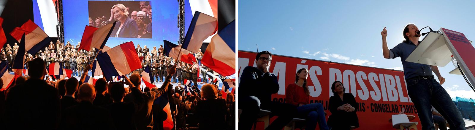 Collage: Links Versammlung Front National, rechts Versammlung Podemos