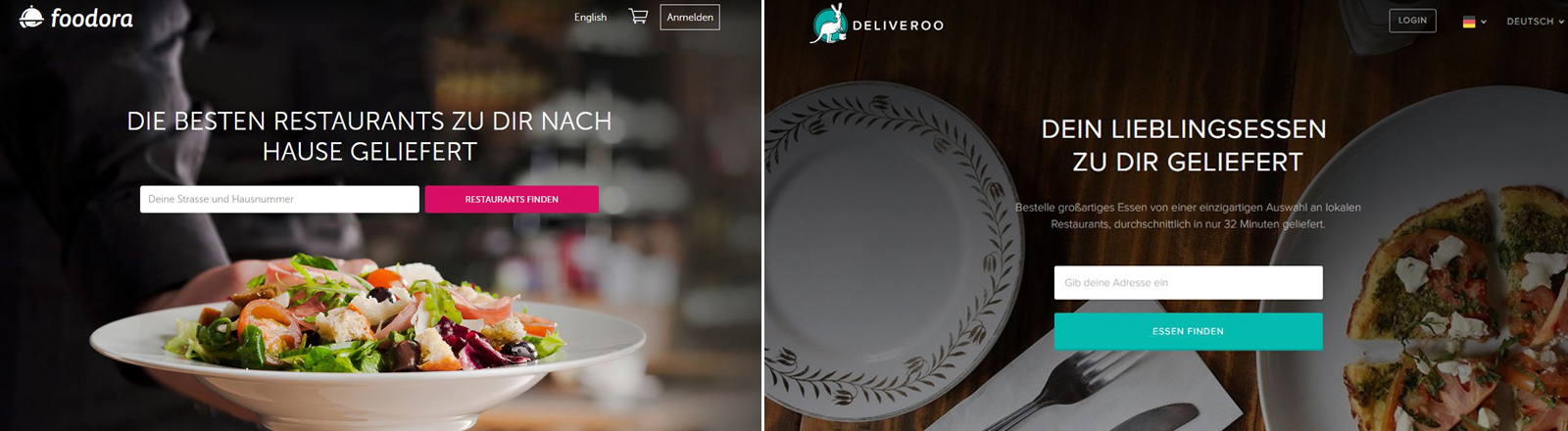 Screenshots Foodora und Deliveroo