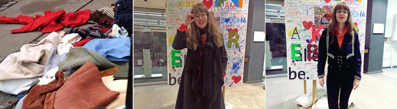 Kleidung im Müll auf der Straße und Reporterin Raffaela Jungbauer