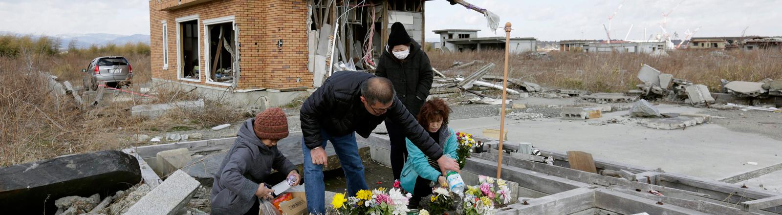Zerstörtes Haus einer Familie in Fukushima