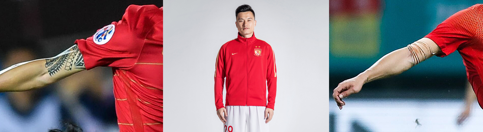 Der rechte Arm von Gao Lin mit Armbinde (links), 2018, Spiel China gegen Wales, China Cup International Football Championship, Guangxi Sports Center, 22.03.2018 in Nanning, China |  Gao Lin, Portrait, 2018, Guangzhou Evergrande Taobao F.C. | Der rechte Arm von Gao Lin ohne Armbinde (rechts), 2018,  AFC Champions League in Guangzhou