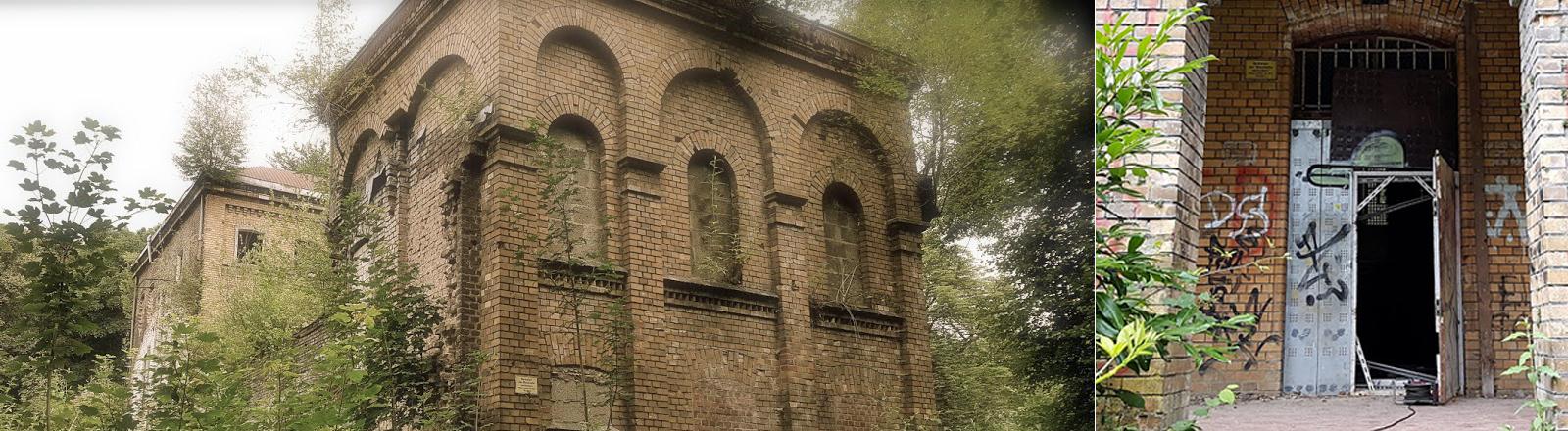 Ansicht der Villa Fühling (links) und Eingang des Hauses (rechts)
