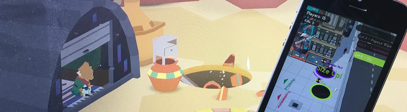 """Groß ist das Spiel """"Donut County"""" von Ben Esposito zu sehen, auf dem Handy das billig gemachte Spiel """"Hole IO""""das Espositos Idee schon vor der Veröffentlichung seines Spiels übernommen hat."""