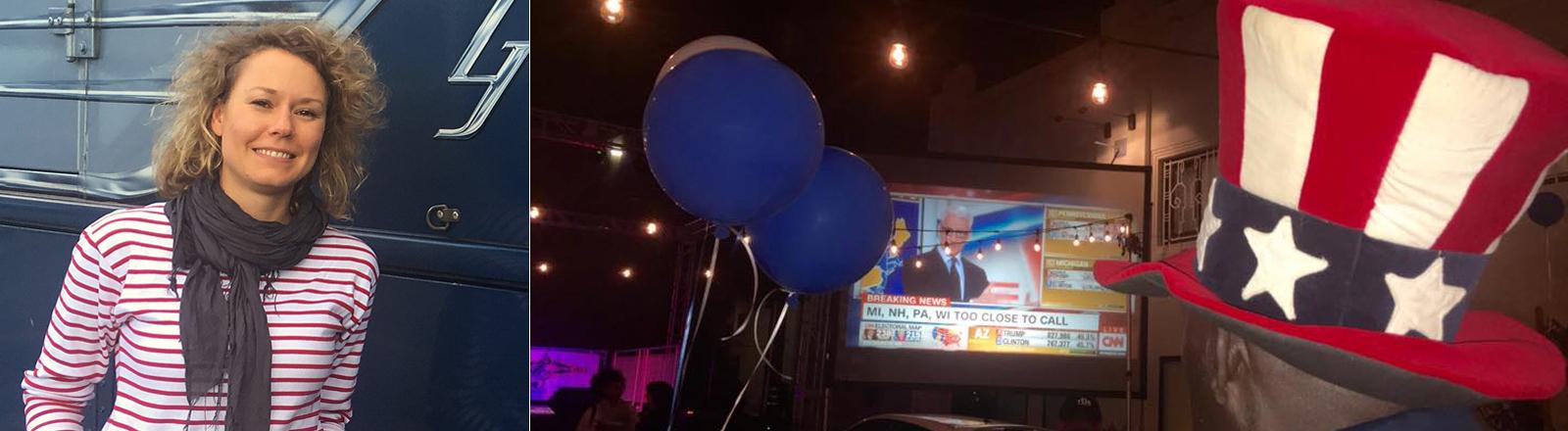 Hanna zu Beginn ihrer Reise und ein Bild mit Menschen in der Wahlnacht, die auf einen Bildschirm schauen.