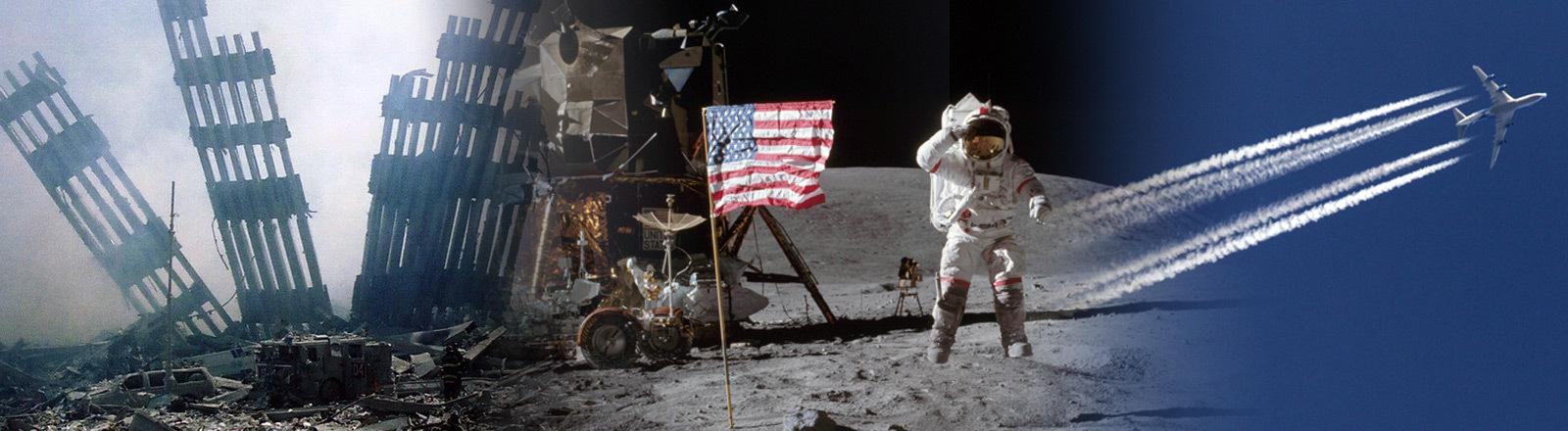 Symbolbild: Collage zu gängigen Verschwörungstheorien zur ersten Mondlandung, Einsturz des WTC in New York und Chemtrails, die angeblich von Flugzeugen erzeugt werden.