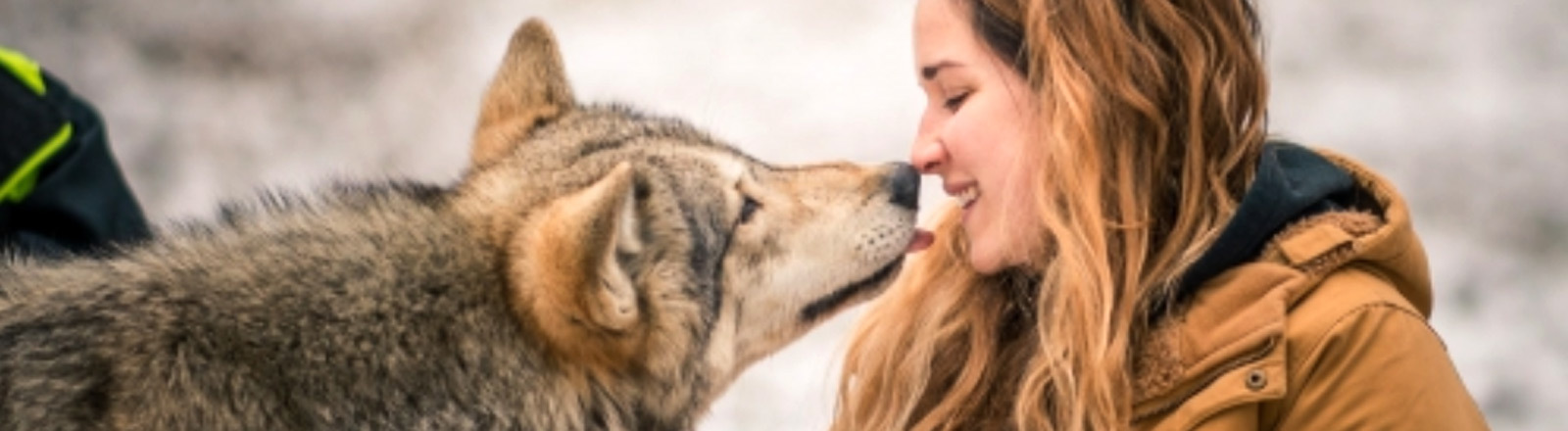 Eine Frau mit einem Wolf.