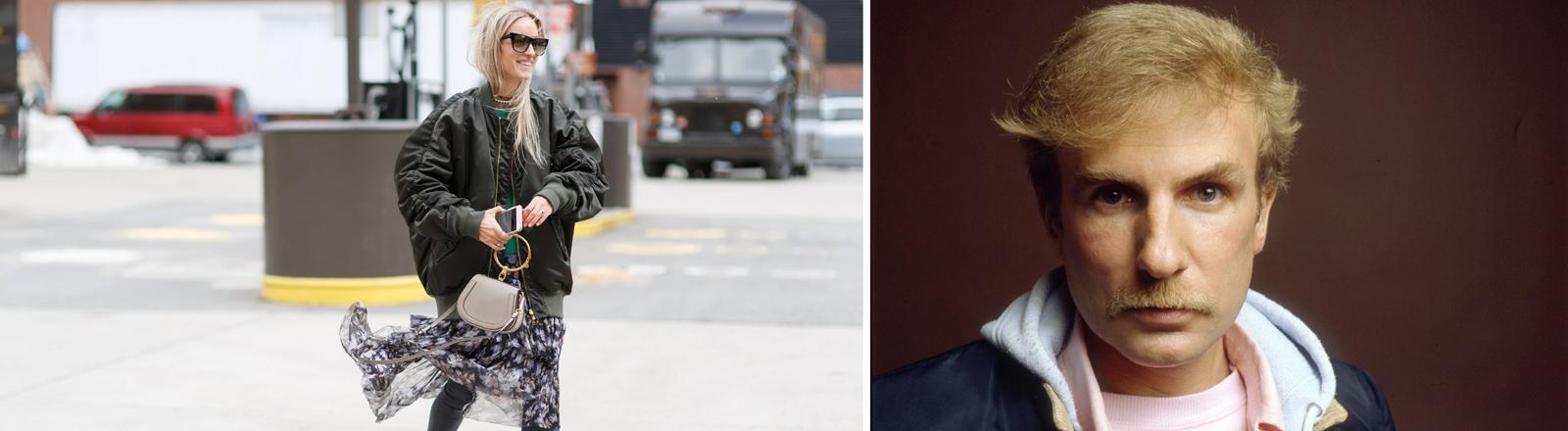 Können sich auf die Bomberjacke einigen: die Bloggerin Charlotte Groeneveld 2017 und der Modedesigner Claude Montana in den 80er Jahren