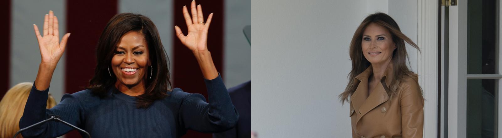 Michelle Obama und Melania Trump auf einer Collage