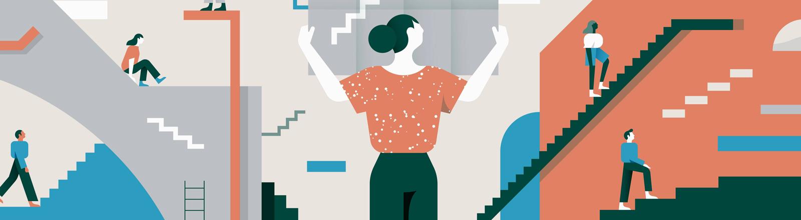 Frauen auf der Karriereleiter