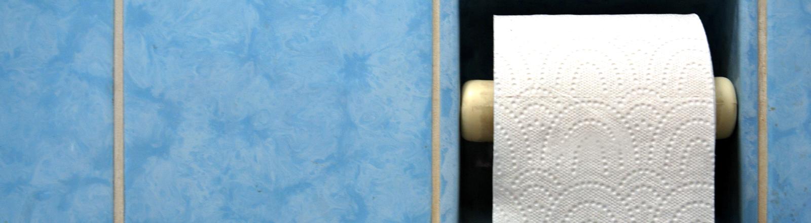 Eine Rolle Klopapier in einem Bad