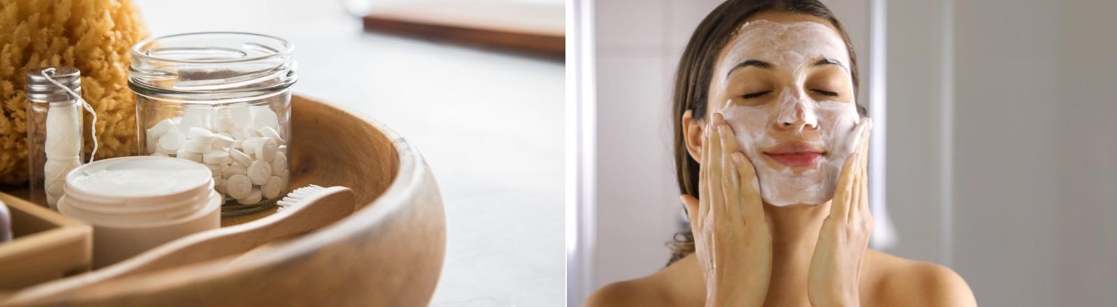Eine Schale mit Creme, einem Schwamm, Zahnbürste und Natron-Tabletten. Auf einem zweiten Bild cremt sich eine Frau das Gesicht mit einer Maske ein.