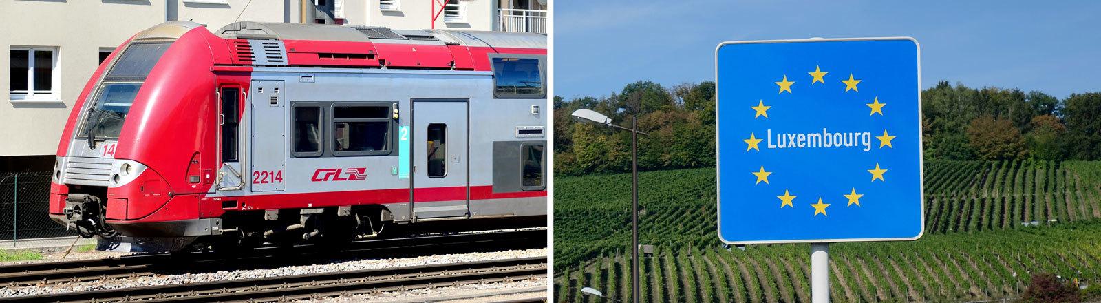 Ein Regionalzug der Societe Nationale des Chemins de Fer Luxembourgeois (CFL) fährt am 06.05.2018 in Petange (Luxemburg) an Wohnhäusern vorbei. Luxemburg-Europaschild vor grünen Feldern.
