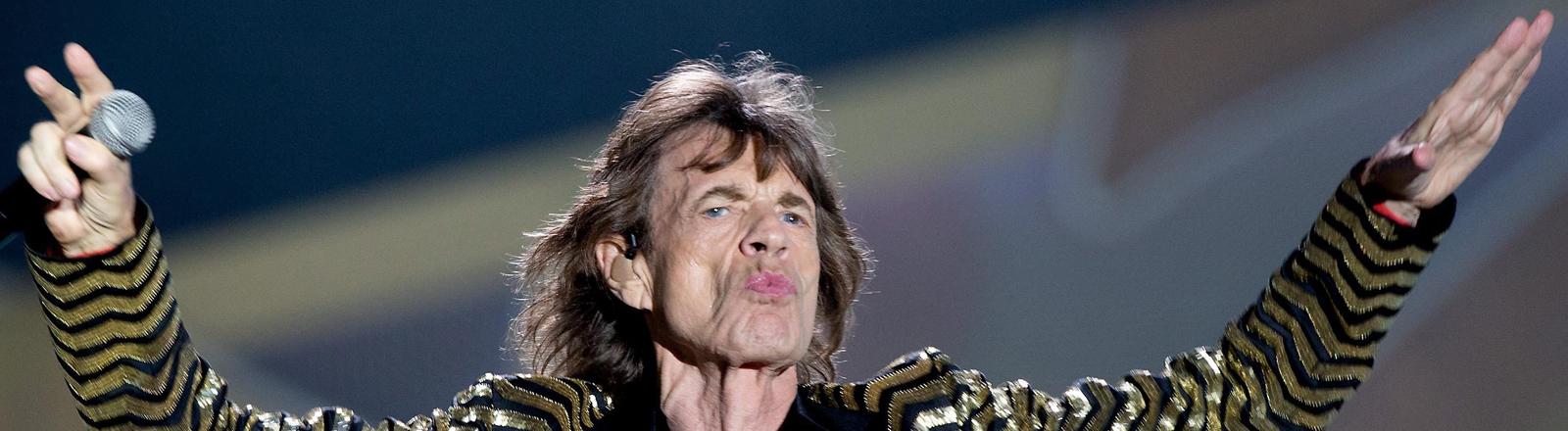 Mick Jagger bei einem Auftritt im Circus Maximus in Rom am 22. Juni 2014.