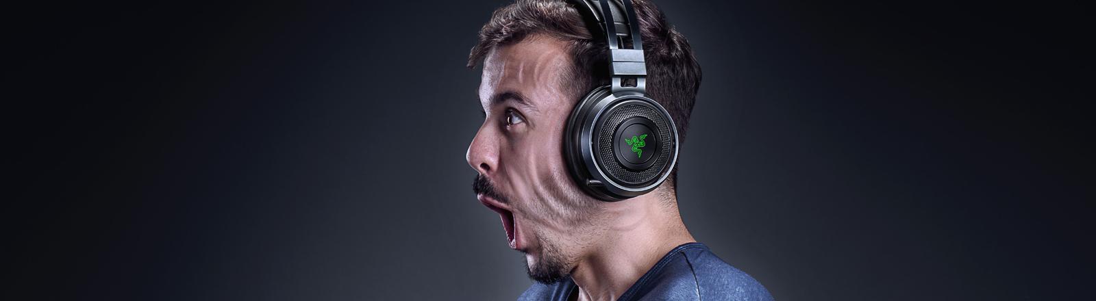Ein Pressebild der Firma Razer mit Vibrator-Kopfhörern