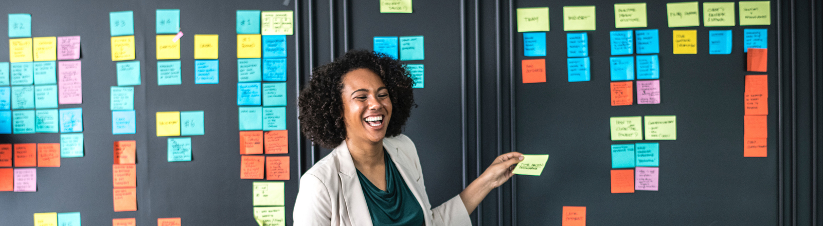 Ein Frau präsentiert vor Kolleginnen ein Thema mit Post-it-Zetteln